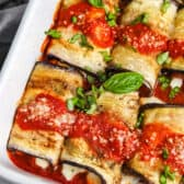 close up of Eggplant Rollatini