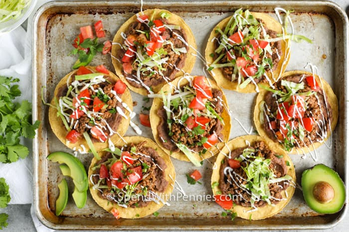 top view of Ground Beef Tostadas on a baking sheet