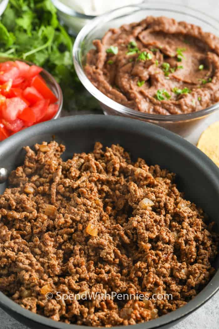 ingredients in bowls to make Ground Beef Tostadas