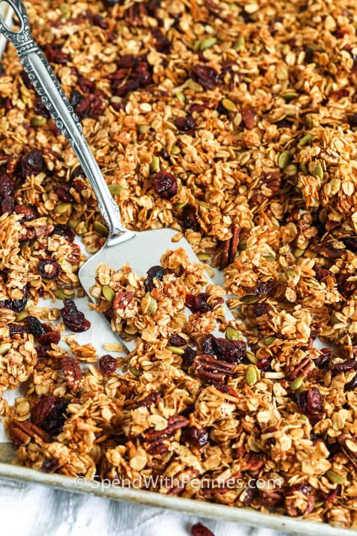 Homemade Granola on a baking sheet