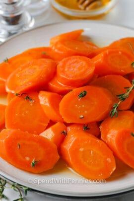 Honey Glazed Carrots on a plate