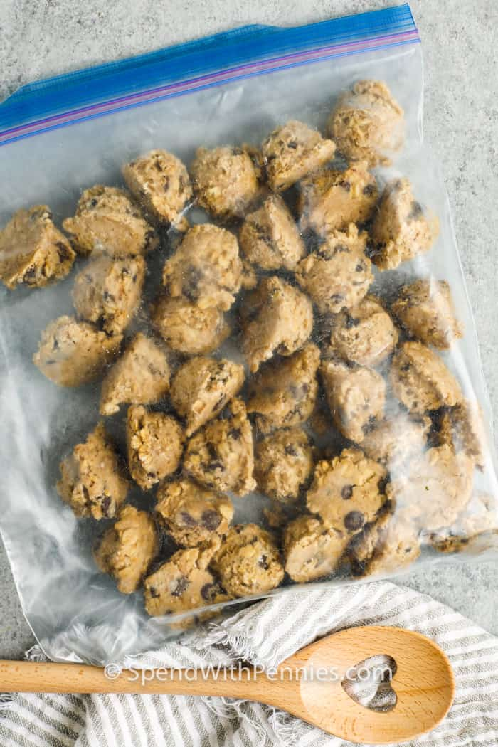 cookie pieces in a bag to show How to Freeze Cookie Dough