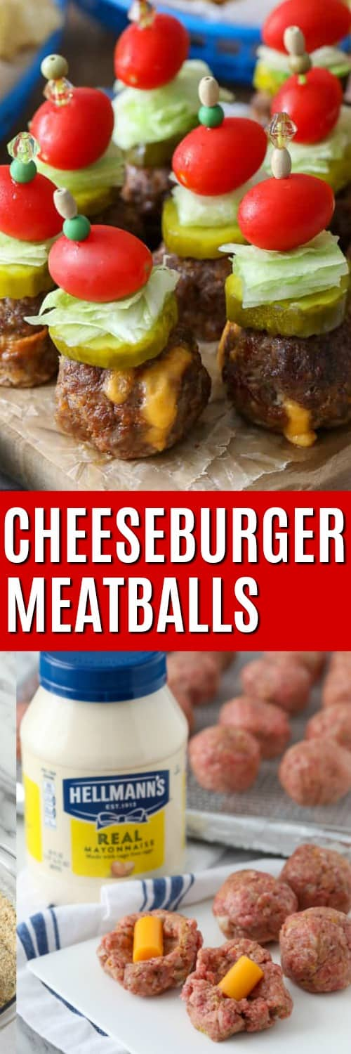 Raw meatballs and Cheeseburger Meatballs with a title