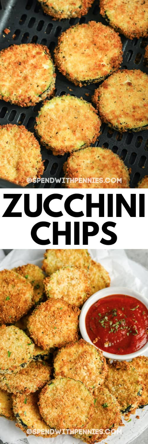 Air Fryer Zucchini Chips in the fryer and plated with a title