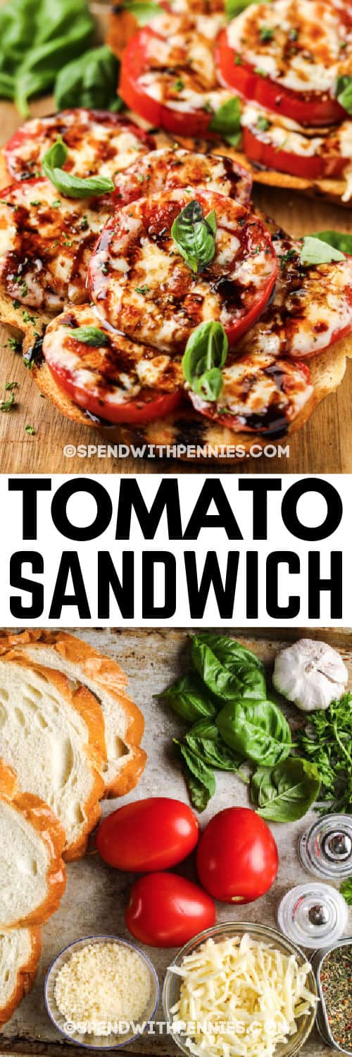 ingredients and final Broiled Tomato Sandwich with writing