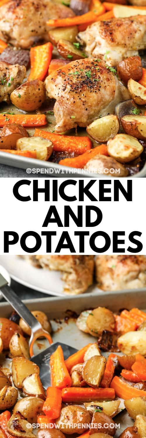 Chicken and Potatoes cooking on s baking sheet with writing