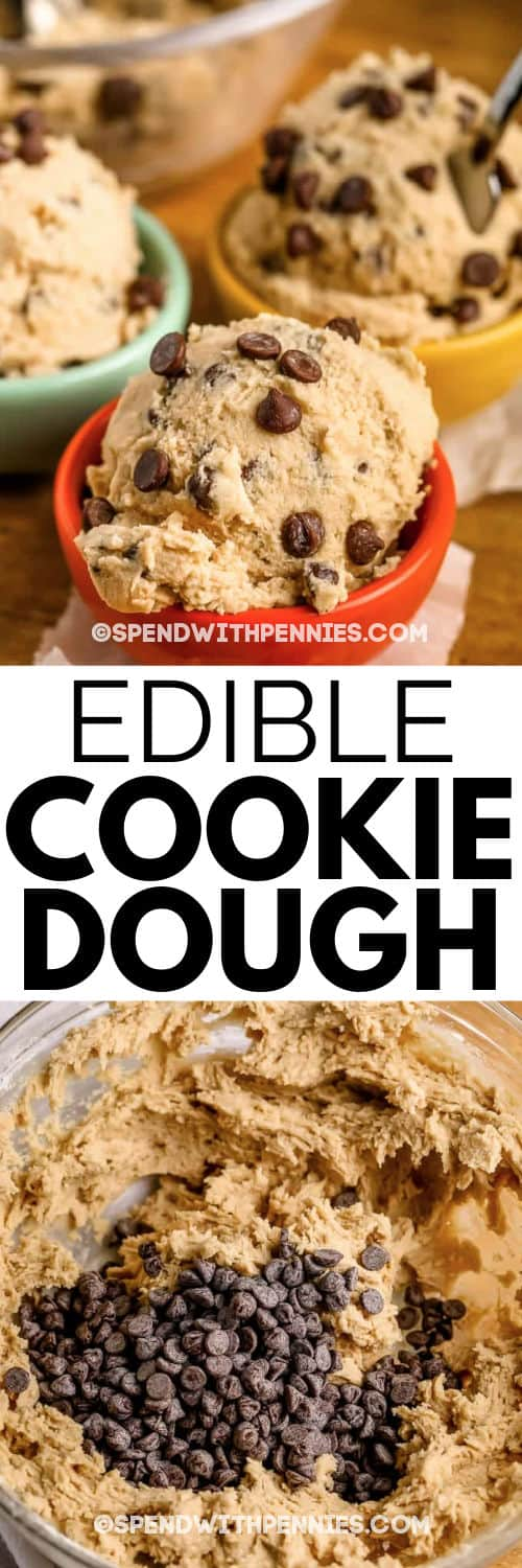 mixing Edible Cookie Dough in a glass bowl and plated with a title