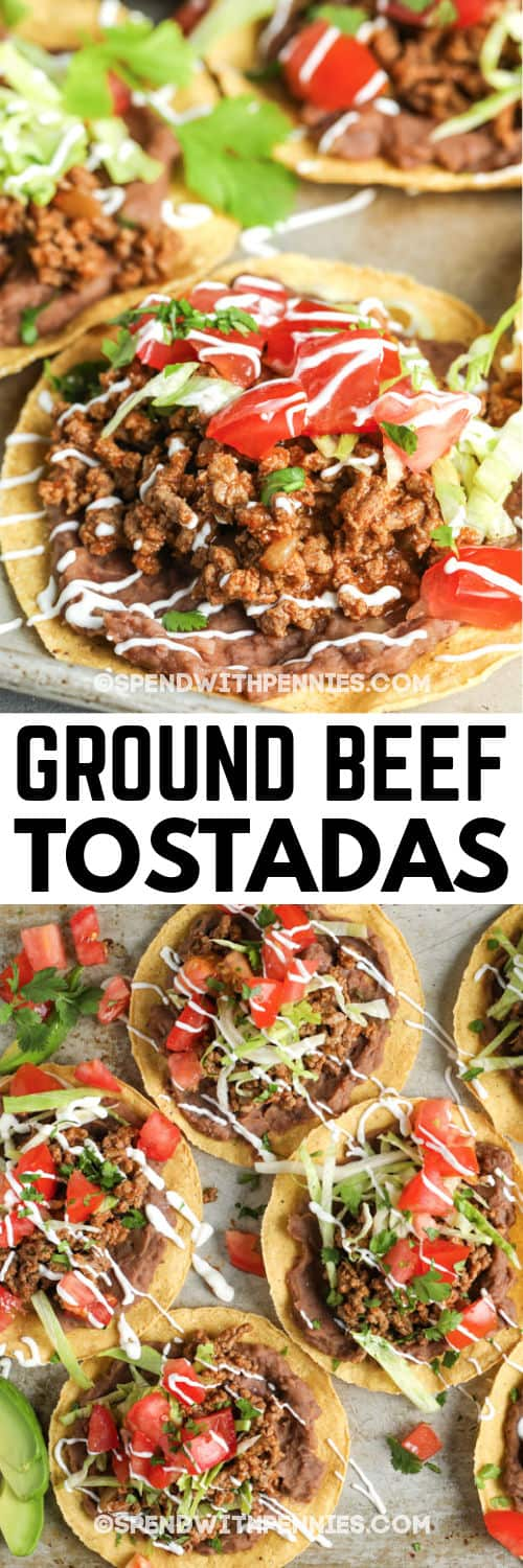 Ground Beef Tostadas on baking sheets with writing