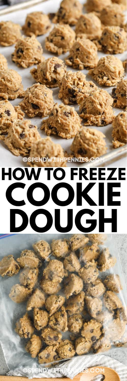 cookie dough on a cookie sheet with a bag of cookie pieces to show How to Freeze Cookie Dough