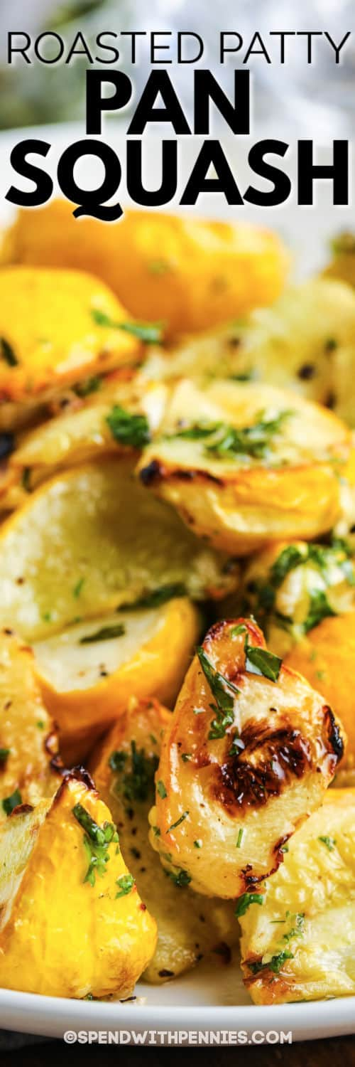 Roasted Patty Pan Squash with Herb Oil with a title
