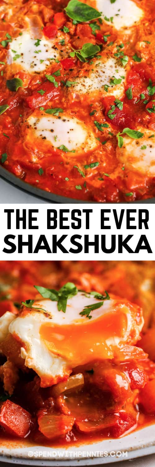 Shakshuka in the pan and plated with writing
