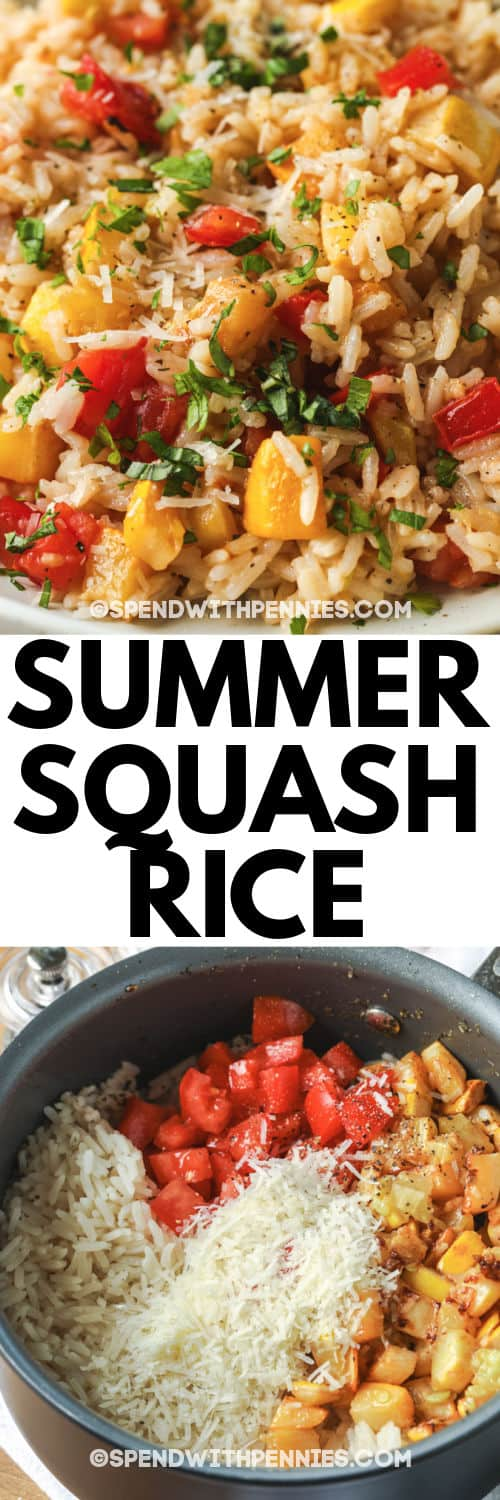 Summer Squash Rice in the pot before and after cooking with a title