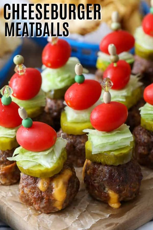 Cheeseburger Meatballs with a title