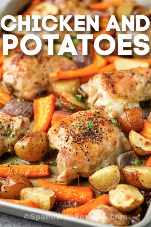 Chicken and Potatoes baking with a title