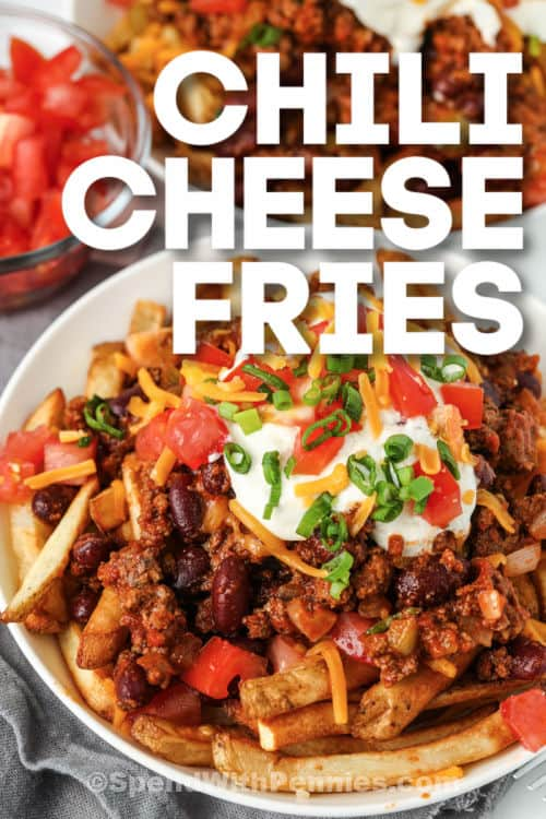 Chili Cheese Fries on a white plate with writing