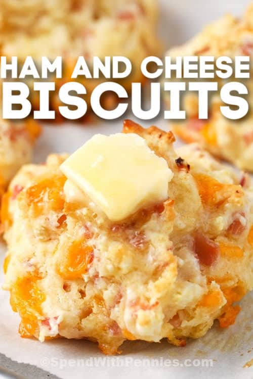 Ham and Cheese Drop Biscuits with a title