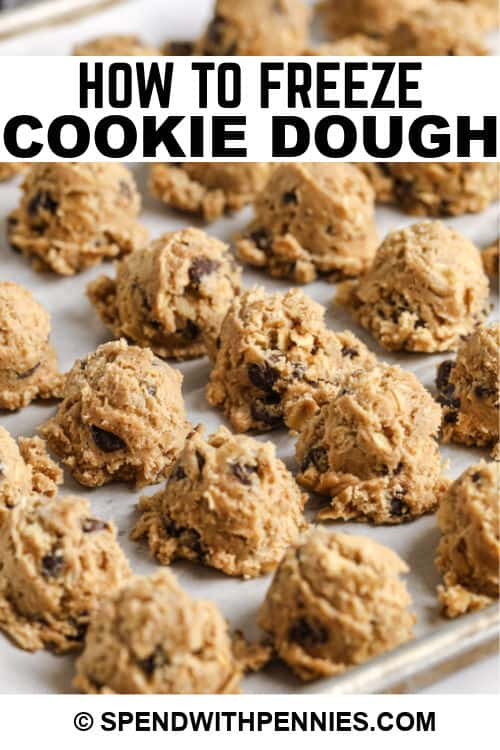 pieces of cookie dough to show How to Freeze Cookie Dough with writing
