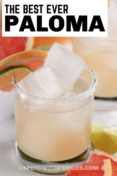Paloma in a glass with writing