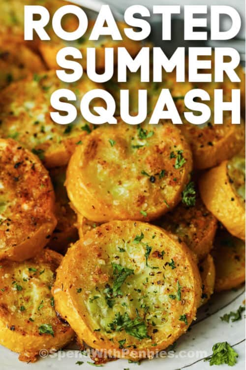 Roasted Summer Squash on a plate with garnish and writing