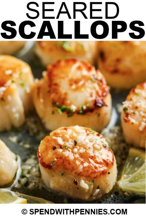 (Simple) Seared Scallops in a pan with lemon and writing