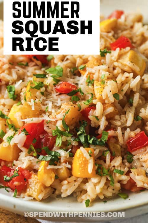 Summer Squash Rice on a plate with a title