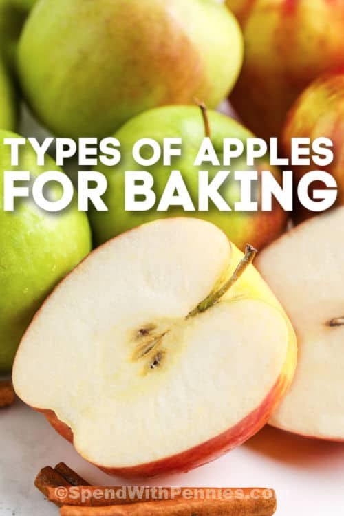 Types of Apples for Baking with a cinnamon stick with writing