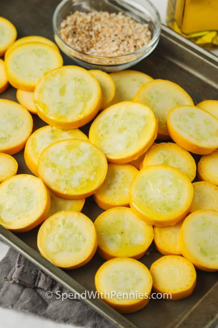 Roasted Summer Squash ingredients on a baking sheet