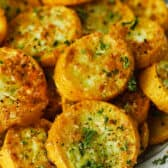 Roasted Summer Squash baked on a plate
