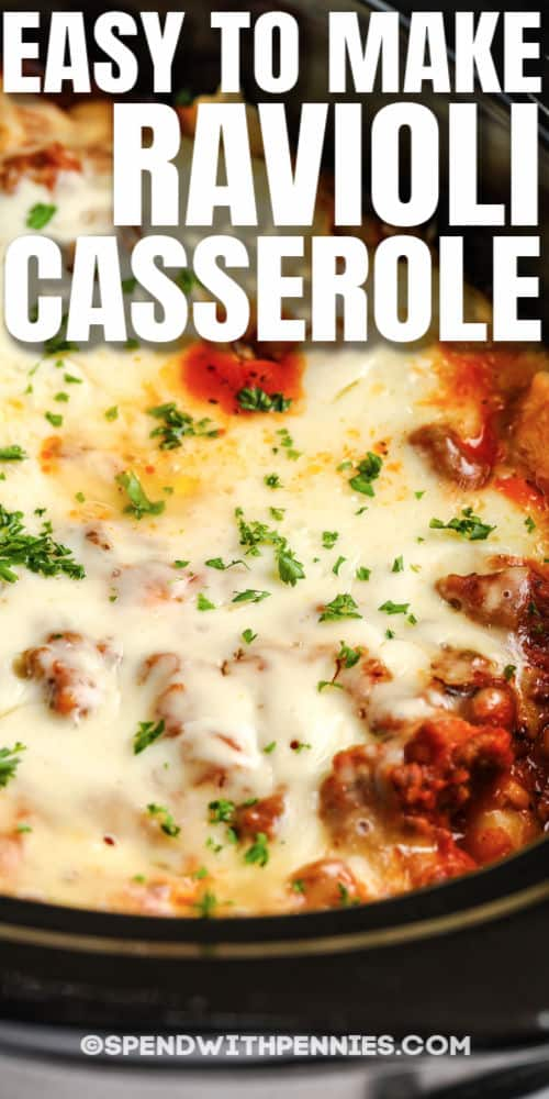 close up of 4 Ingredient Ravioli Casserole in the crockpot