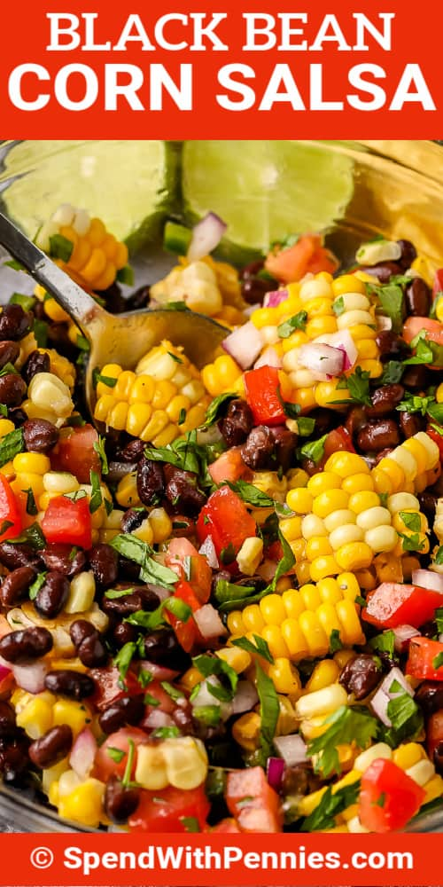 Black Bean and Corn Salsa being scooped out of a bowl with a spoon and writing