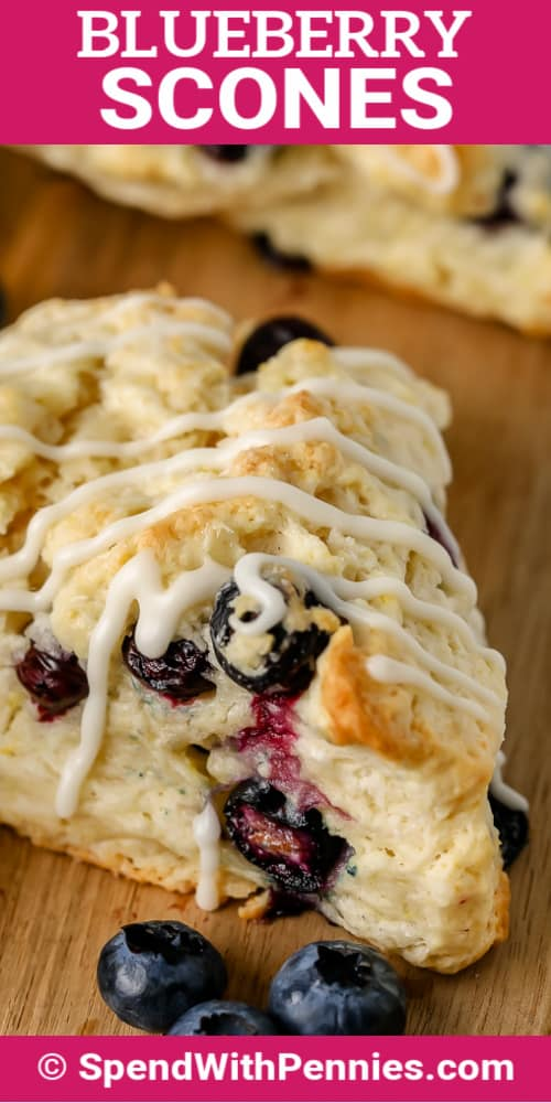 Blueberry Scones with icing and a title