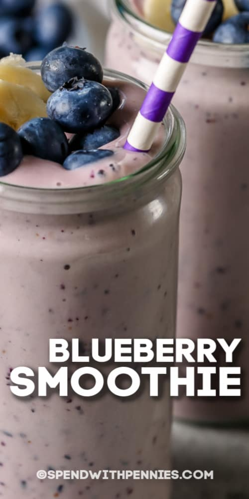 Blueberry Smoothie with a straw and a title