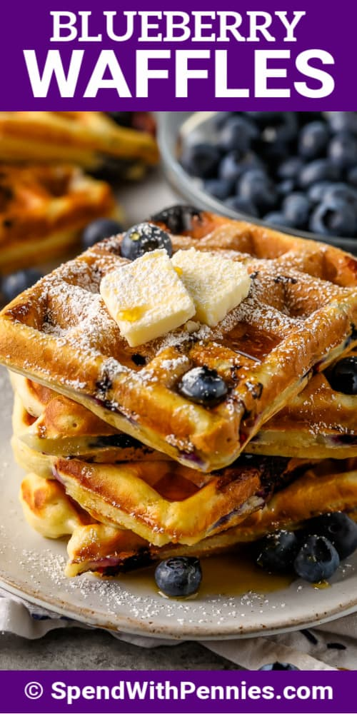 stack of Blueberry Waffles on a plate with text