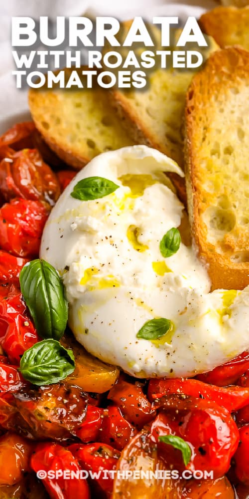 Burrata with Roasted Tomatoes with writing