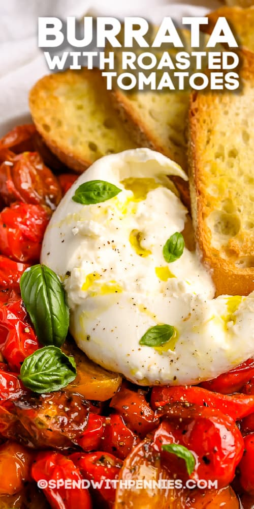 Burrata with Roasted Tomatoes with text
