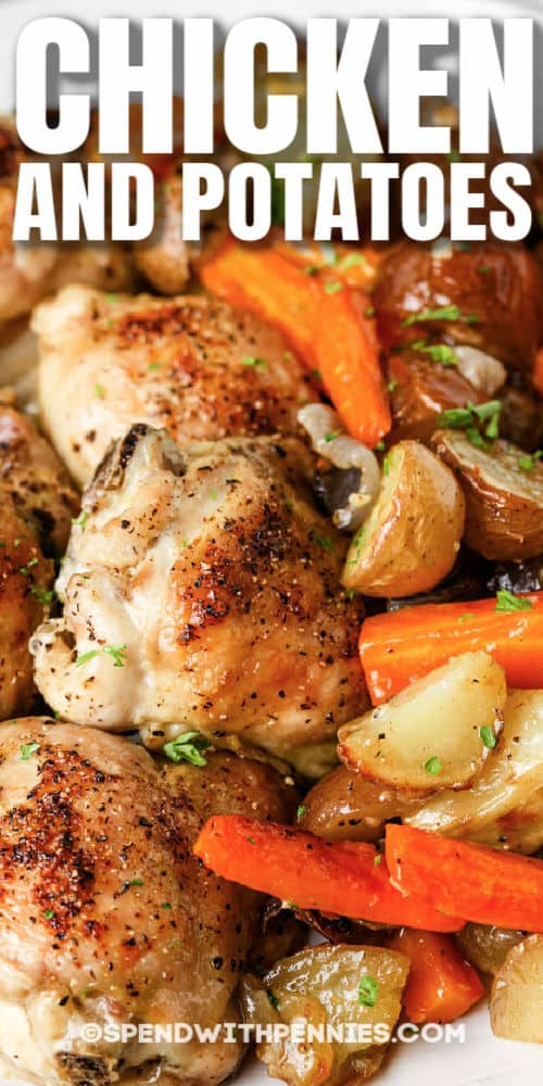 close up of Chicken and Potatoes with a title