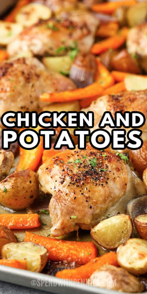 Chicken and Potatoes on a baking sheet with writing