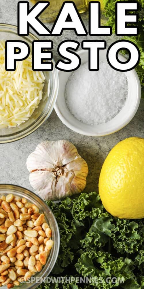 ingredients to make Kale Pesto with writing