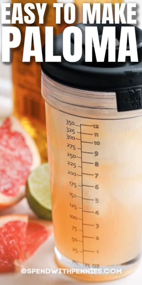 Paloma in a shaker with ingredients and a title
