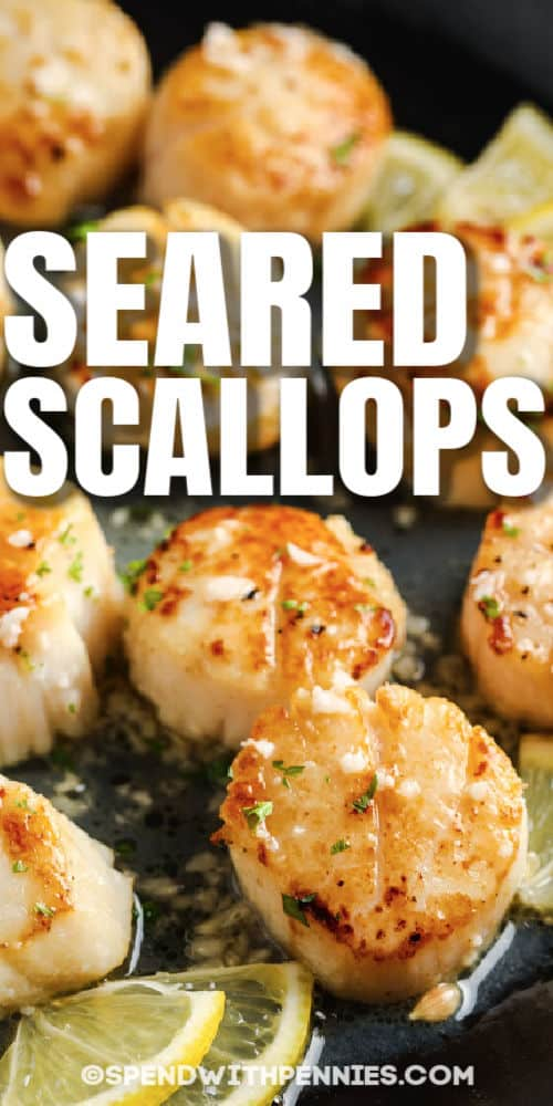 (Simple) Seared Scallops in a pan cooking with a title