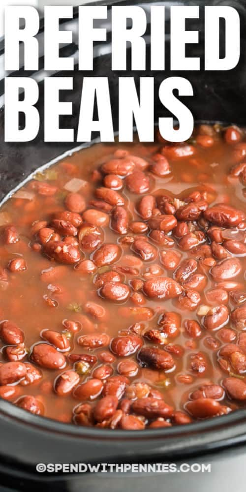 Slow Cooker Refried Beans in the slow cooker and writing