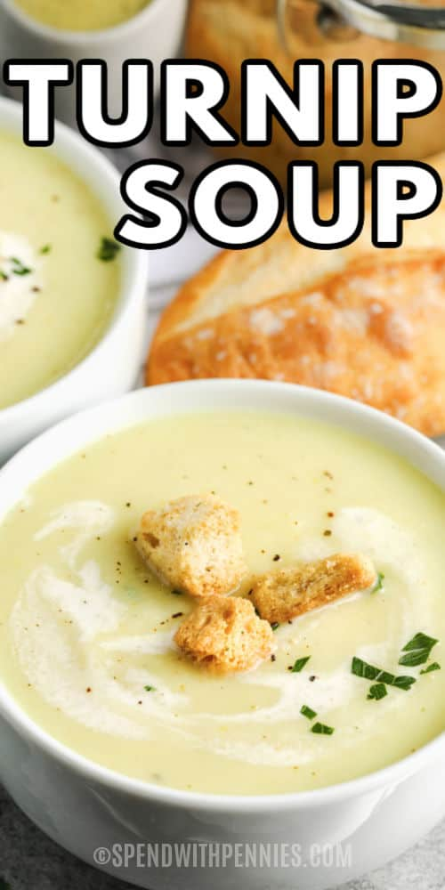 Turnip Soup in bowls with a title