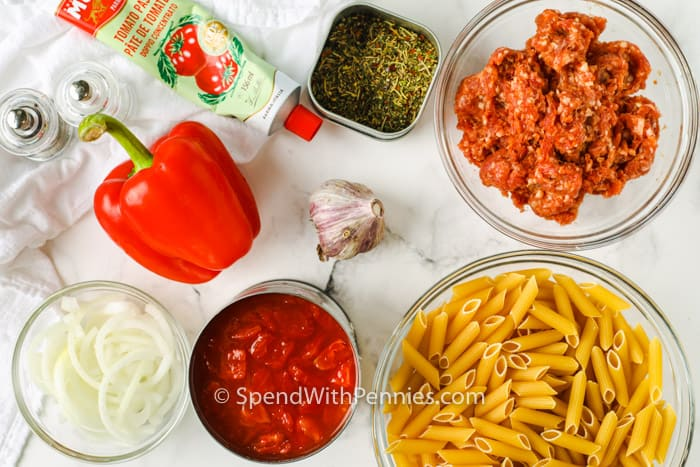 ingredients to make Sausage Pasta