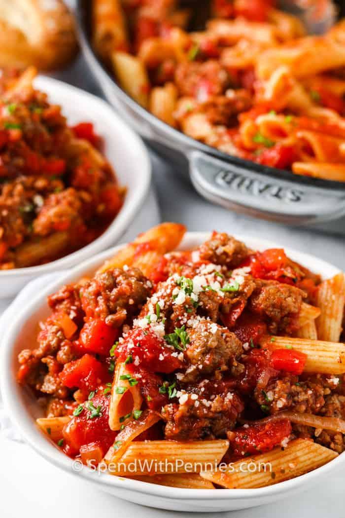 close up of plated Sausage Pasta