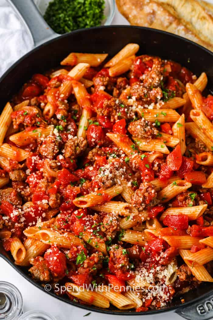 top view of Sausage Pasta in the pan