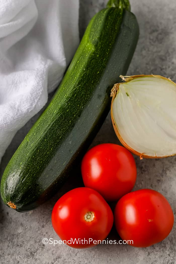 Veggies on a marble board for Sauteed Zucchini