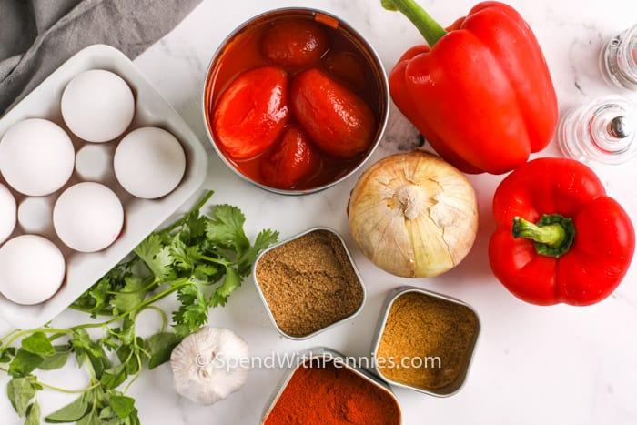 ingredients to make Shakshuka