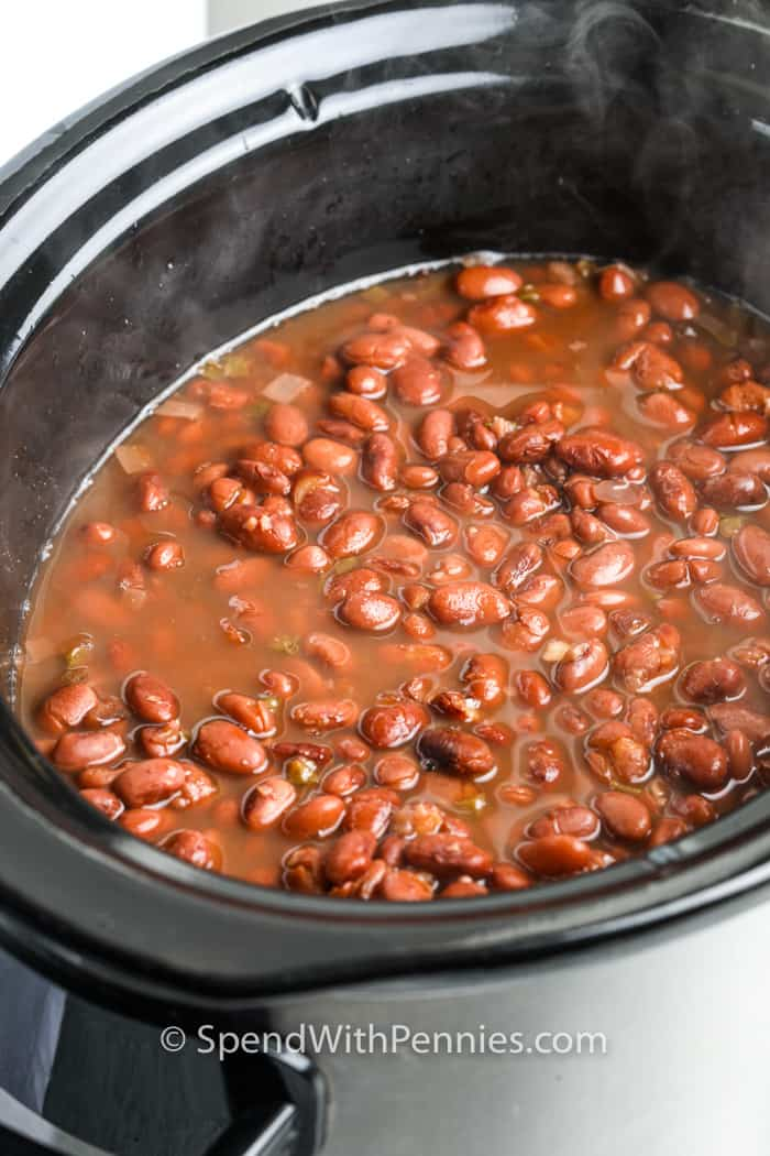 Slow Cooker Refried Beans cooking in the air fryer