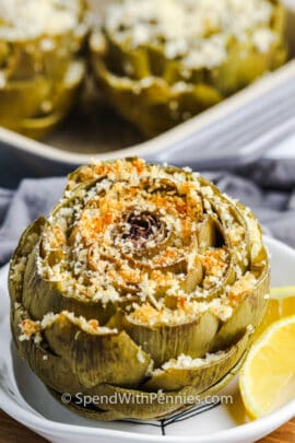 close up of plated Stuffed Artichokes
