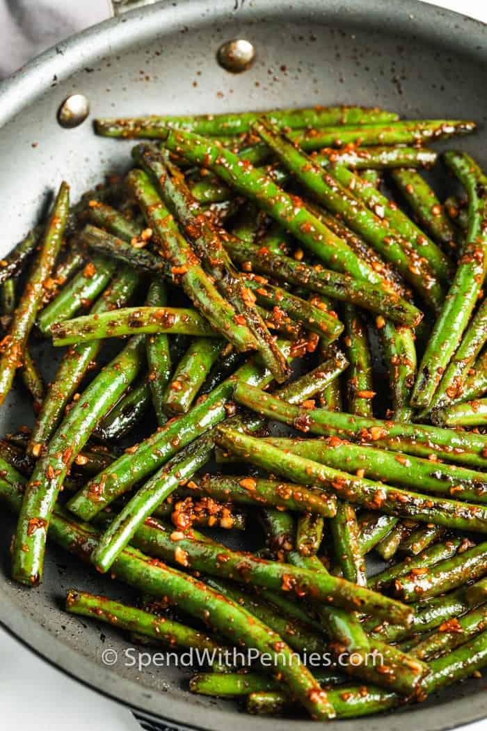 Szechuan Green Beans cooking in the pan